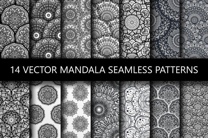 Black White Mandala Seamless Patterns
