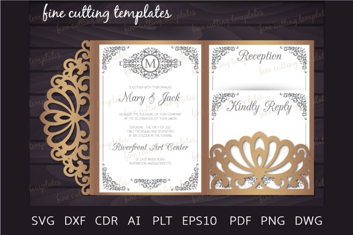 Laser cut Wedding 5x7 Tri Fold pocket envelope template svg