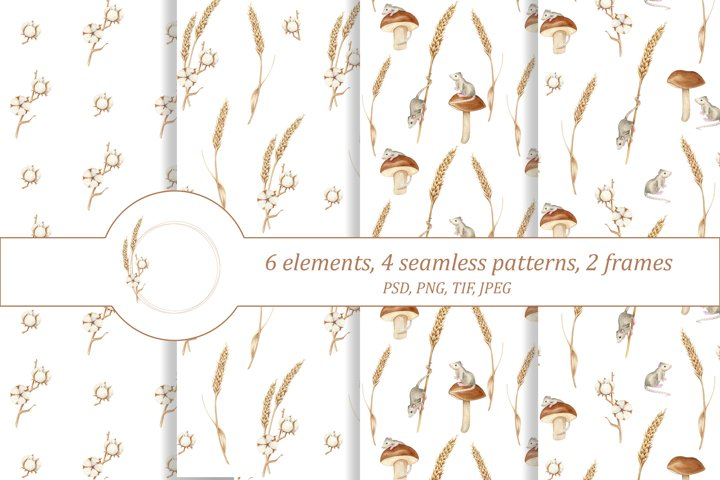 Mice, spikelets and cotton. Watercolor seamless patterns