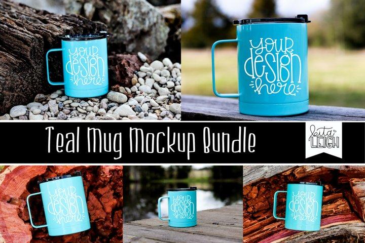 Teal Stainless Steel Mug Mockup Bundle