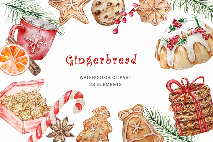 Gingerbread Watercolor Clipart, Christmas Clipart