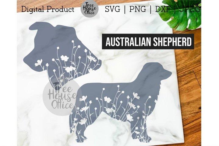 Australian Shepherd Svg, Dog with Flowers SVG PNG, Floral