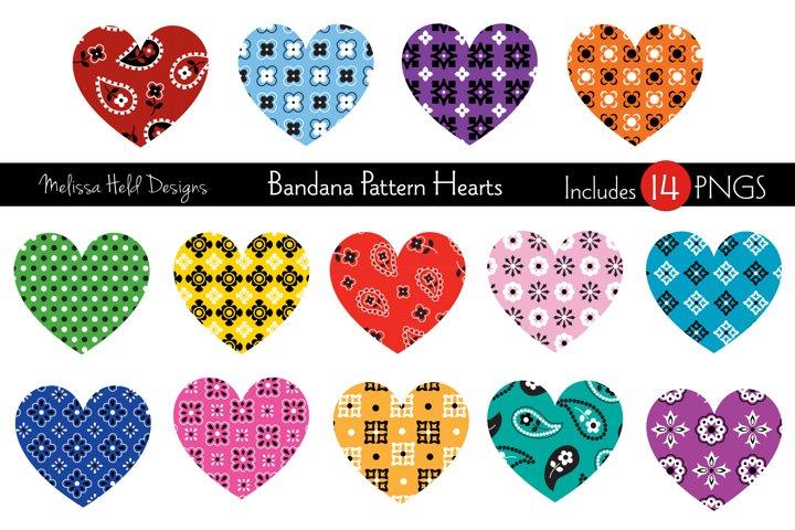 Bandana Pattern Hearts Vector Graphics