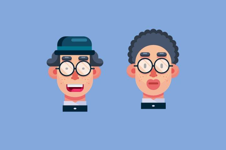 bundle of nerd white guy avatars flat characters