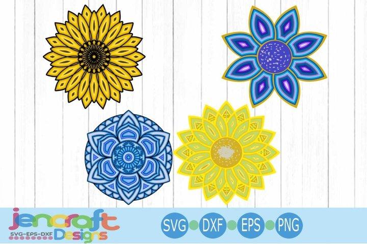 3D Mandala Bundle SVG, Eps, Dxf Cut file Layered Design