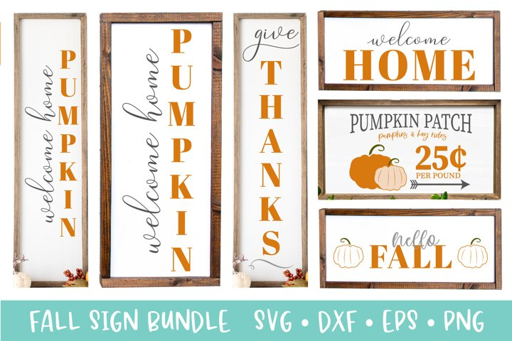 Fall Porch Sign Bundle - Fall Decor Crafting Bundle SVG DXF