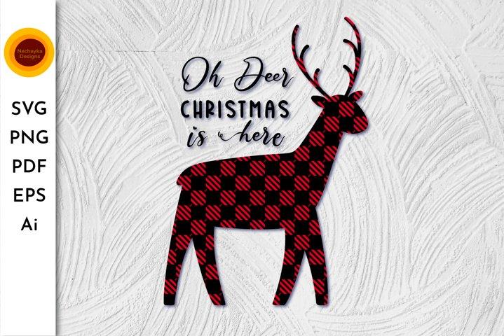 Buffalo Plaid Reindeer SVG Buffalo Plaid Deer Christmas deer