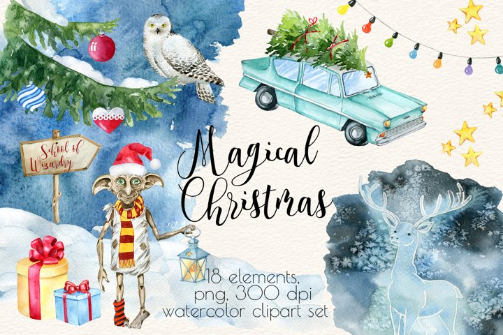 Watercolor Christmas Clipart,Magical Christmas Clipart