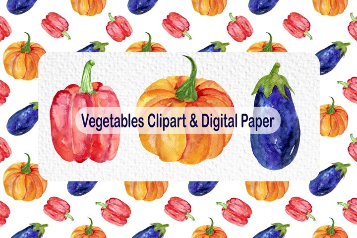 Watercolor Vegetables Clipart & Digital Paper - Fall Clipart