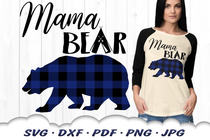 Buffalo Plaid Mama Bear SVG DXF Cut Files