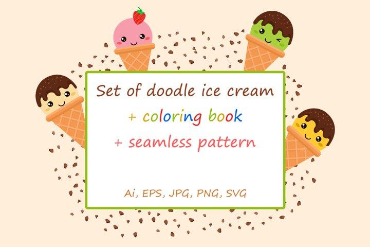 Set of doodle ice cream in bright cartoon style