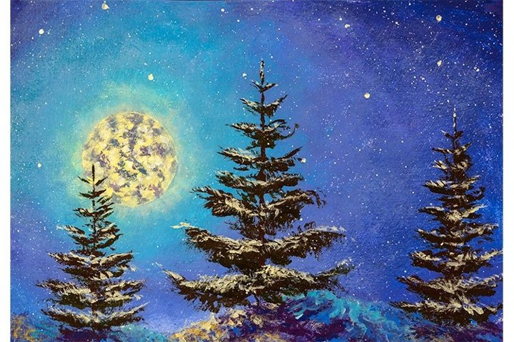 Night Christmas winter landscape with moon and fir tree