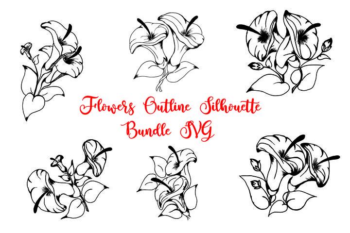 Flowers Outline Silhouette Bundle SVG