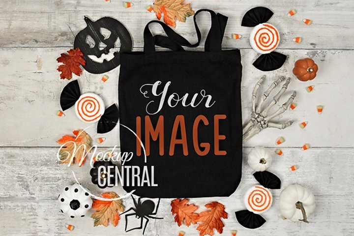 Black Halloween Tote Bag Mockup JPG, Flatlay Photo