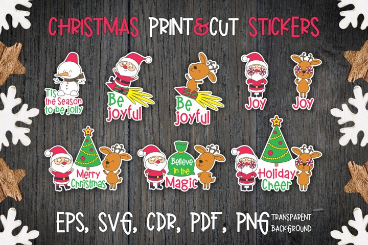 Christmas stickers with Santa and Deer.
