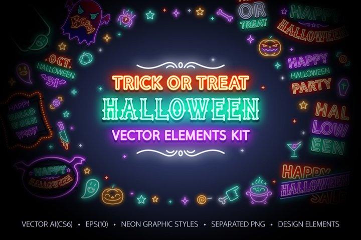 Halloween Neon Signs Set