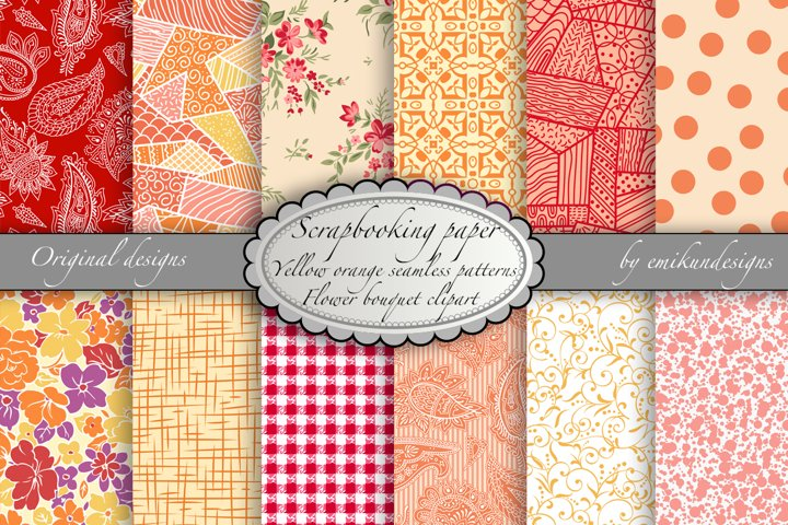 Seamless floral and geometric scrapbooking papers