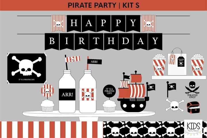 Pirate birthday party decorations, first birthday party kit