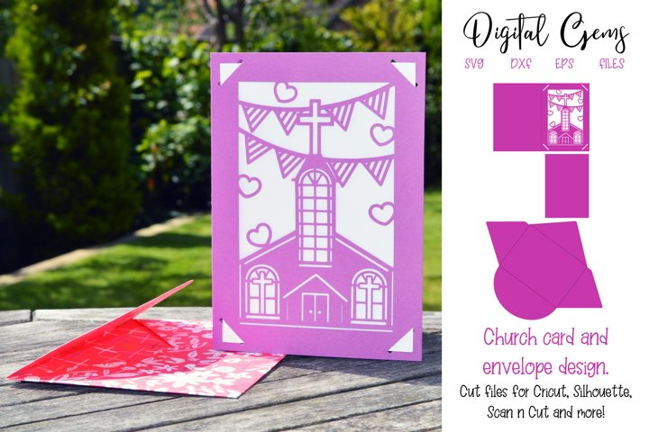 Church card and envelope design SVG / DXF / EPS file