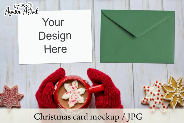 Pack 4 JPG Christmas Card Mockups, Holiday Card Mockup