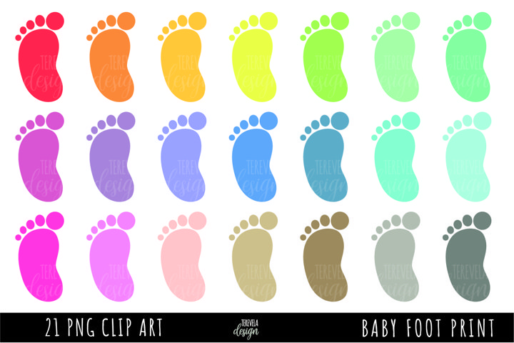 baby clipart, baby foot print, multicolor baby foot print