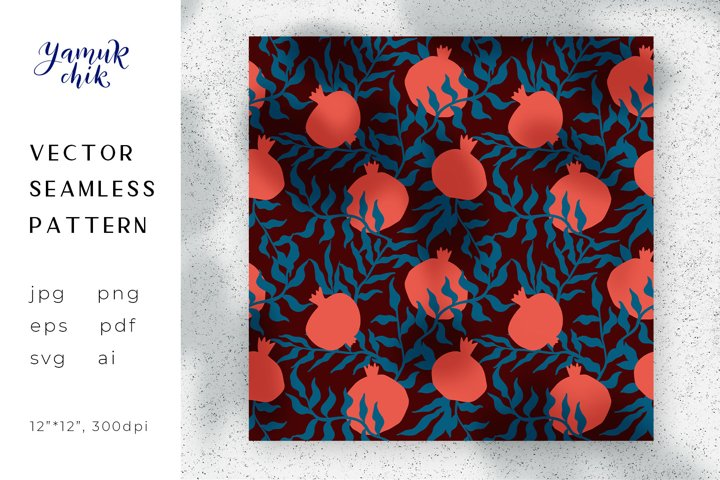 Pomegranate Digital Paper png, seamless garnet pattern eps