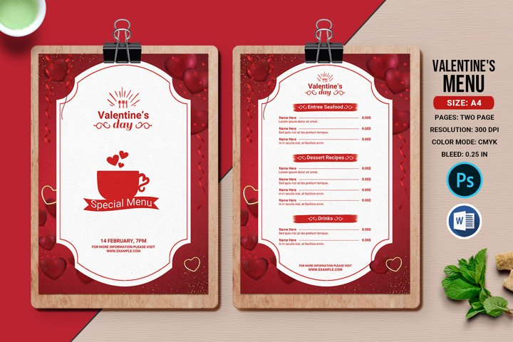 Valentines Party Menu Flyer, Ms Word & Photoshop Template