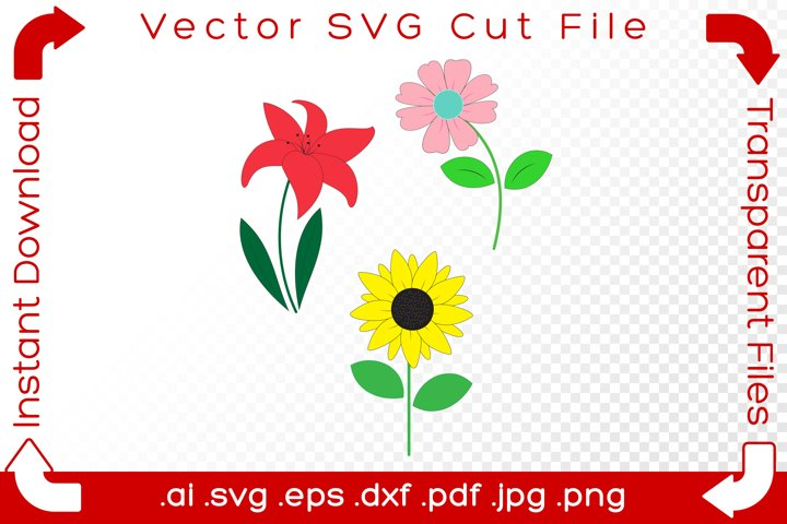 Hand Drawn SVG Summer Flowers - Cartoon Cut File for Makers