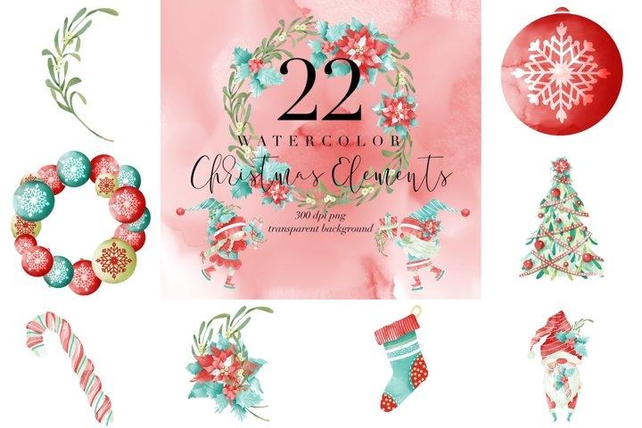 22 Watercolor Christmas graphic, Xmas decor transparent PNG