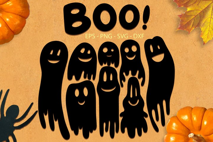 Ghosts svg png dxf eps - Halloween Ghosts Collection