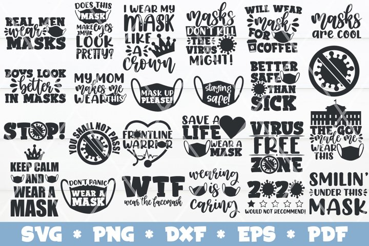 Face Mask SVG Bundle, Face Mask Quotes SVGs, Quarantine SVGs