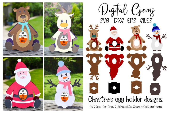 Christmas egg holders, Santa, Reindeer, Snowman, and Bear