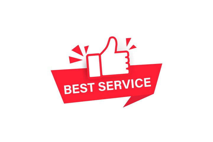 Best service label. Vector on isolated white background. EPS