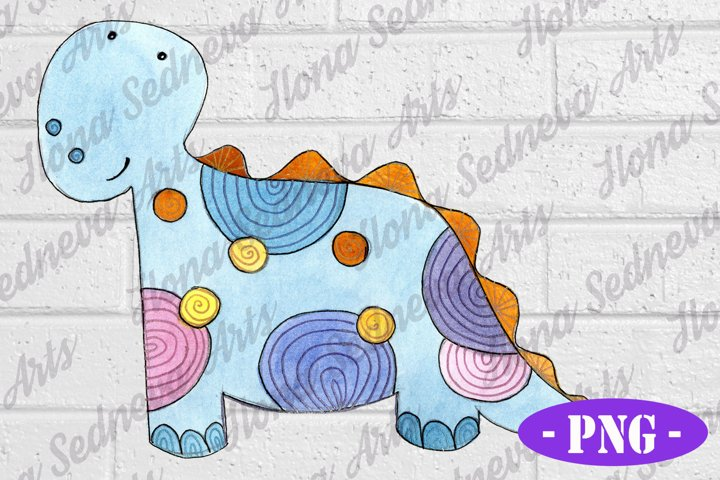 Blue Dinosaur PNG | Kids Shirt Design | Hand Drawn | Clipart