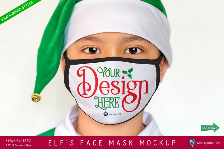 Face Mask Mockup with Black Edges, Christmas Elf | psd & jpg