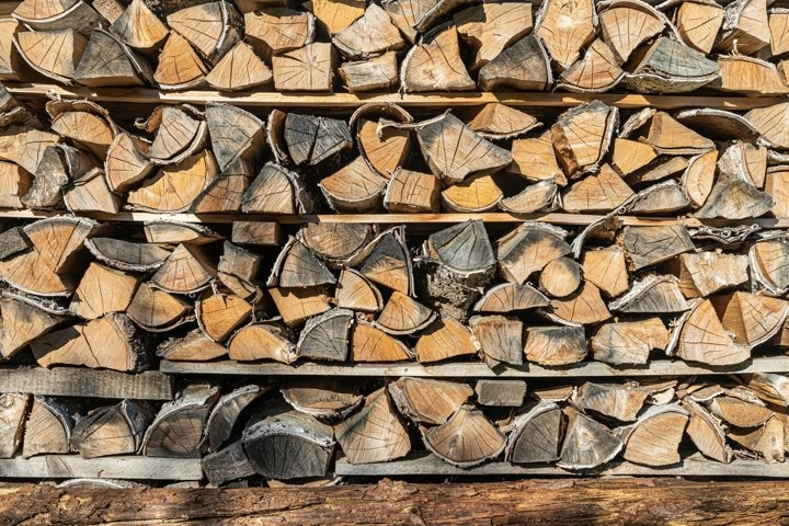 Firewood from chopped birch with bark and knots