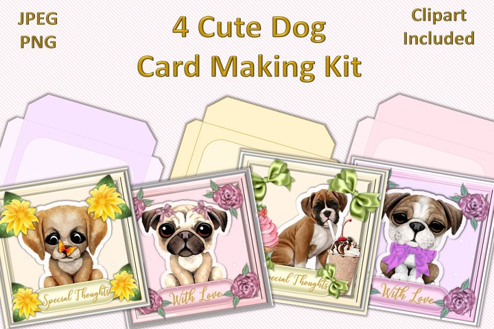 Cute Dos Card Making Kit Pack of 4 JPEG & Free PNG Clip art