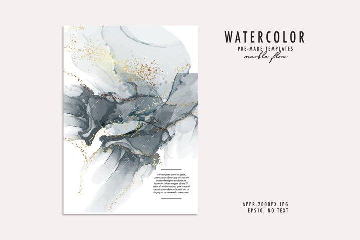 Monochrome Watercolor card resin fine art alcohol gold glitt