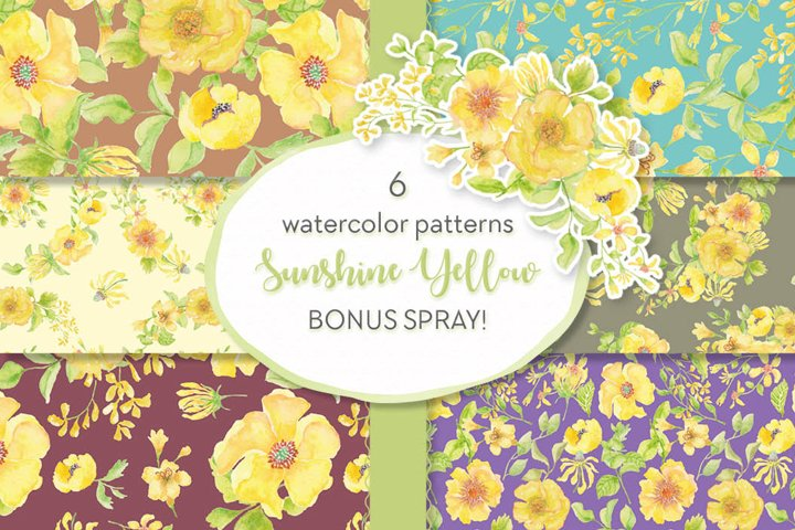Sunshine yellow watercolor patterns