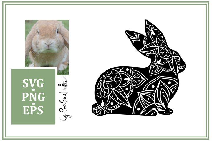 Bunny Mandala. Easter Design SVG, PNG, EPS
