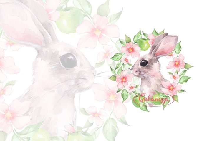 Rabbit and flowers. Watercolor