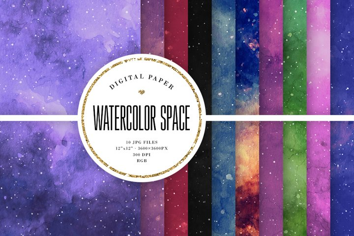 Watercolor Space Backgrounds - Dark Galaxy Textures