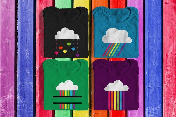 Rainbow Rain Clouds SVG Design