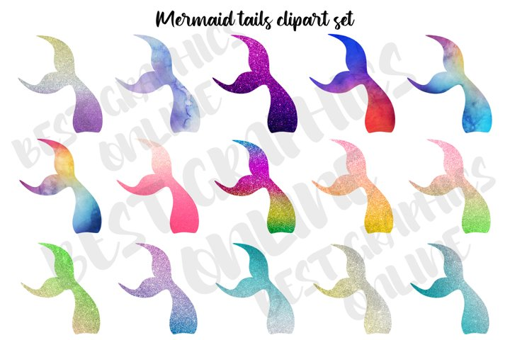 Mermaid Tail Clipart, Mermaid Under the Sea Tails Clipart