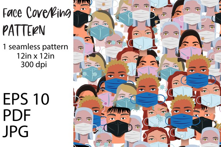 Pandemic face covering in public places seamless pattern