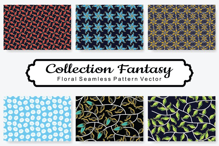 Set Of Fantasy Floral Vector Pattern Vol.16