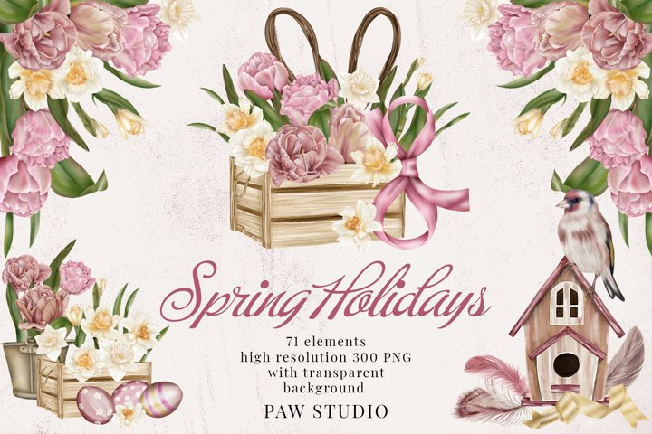 Spring Holidays Womens Day Easter Clipart Tulips Daffodils