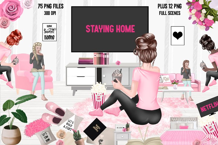 STAY HOME CLIPART - Fashion Girl Planner Graphics