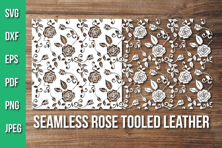 Seamless Rose Tooled Leather Svg, Floral Pattern Cut File
