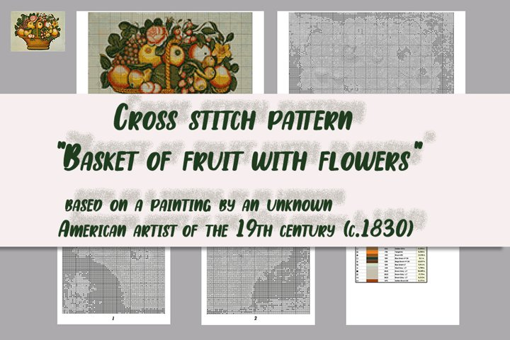 Cross stitch pattern Basket of fruit with flowers